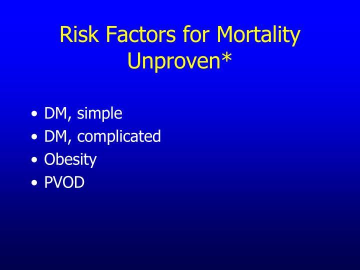 Risk Factors for Mortality
