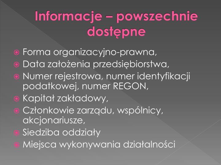 Informacje – powszechnie dostępne