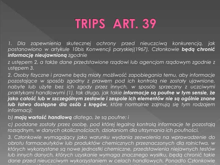 TRIPS  ART. 39