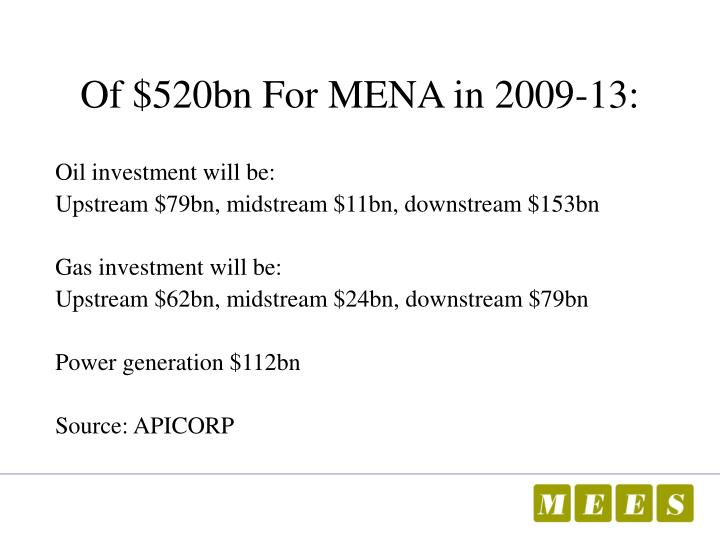 Of $520bn For MENA in 2009-13: