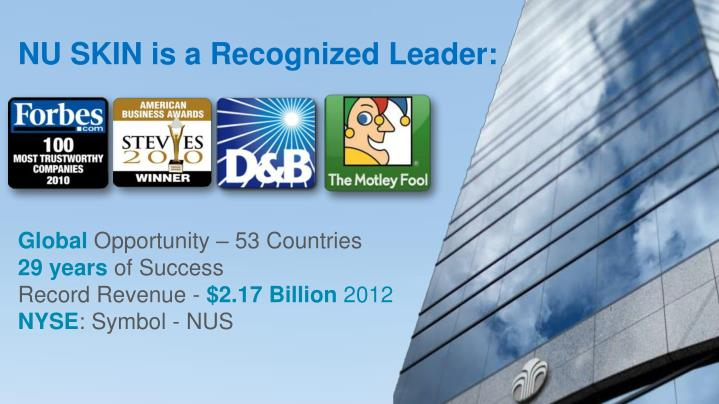 NU SKIN is a Recognized Leader: