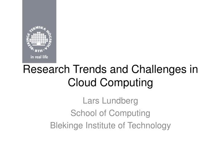 research trends and challenges in cloud computing n.