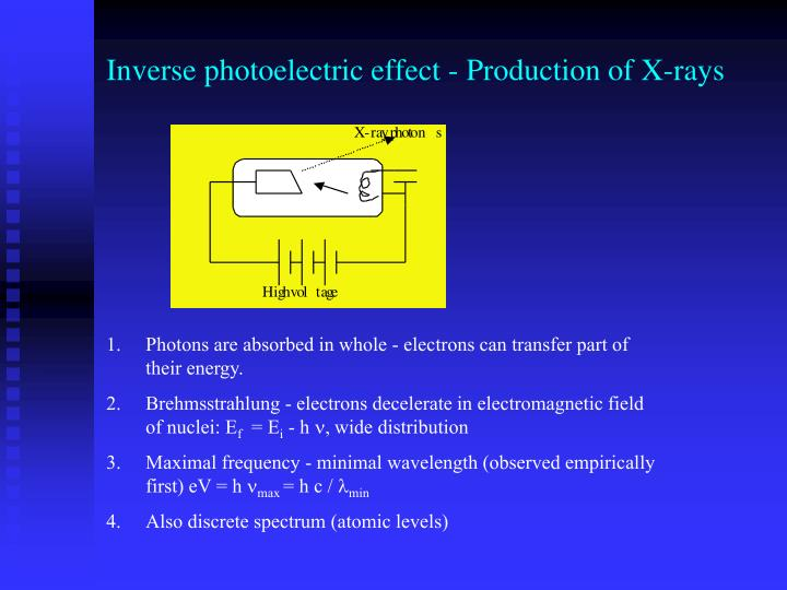 Inverse photoelectric effect - Production of X-rays