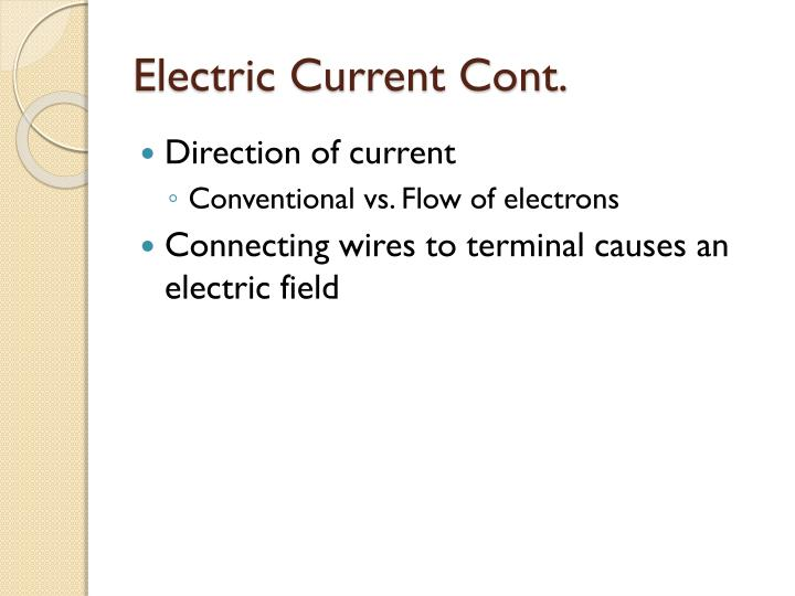 Electric Current Cont.