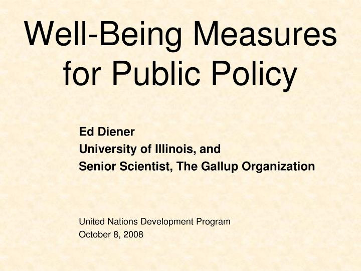 well being measures for public policy