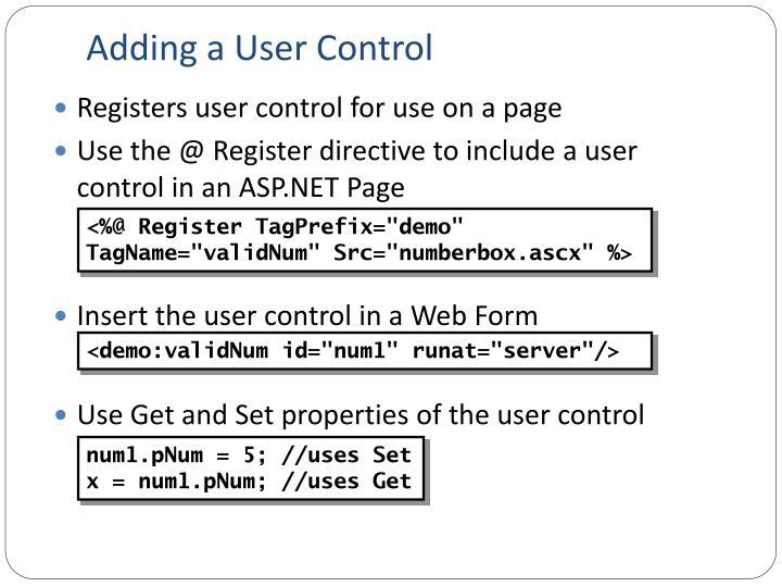 Adding a User Control