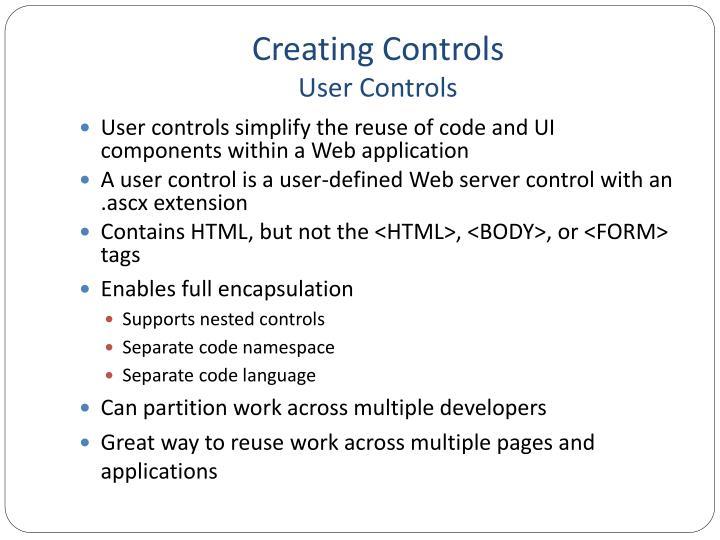Creating Controls