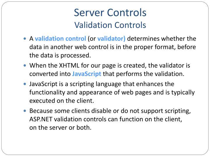 Server controls validation controls