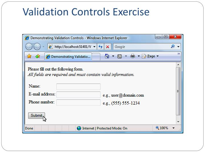 Validation Controls Exercise