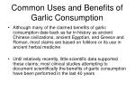 common uses and benefits of garlic consumption1