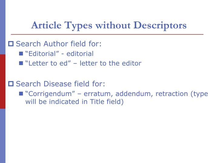 Article Types without Descriptors