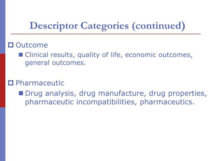 Descriptor Categories (continued