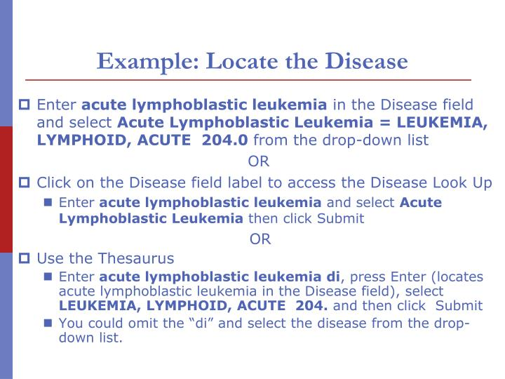 Example: Locate the Disease
