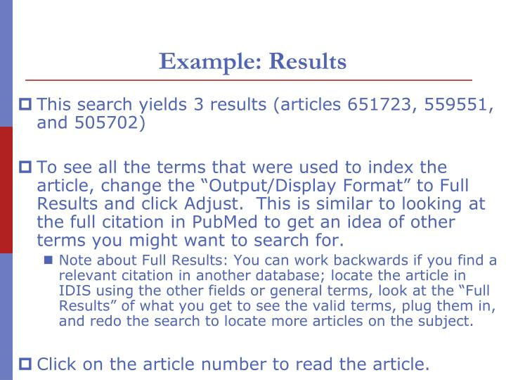 Example: Results
