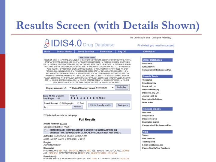 Results Screen (with Details Shown)