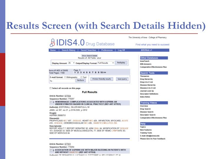 Results Screen (with Search Details Hidden)