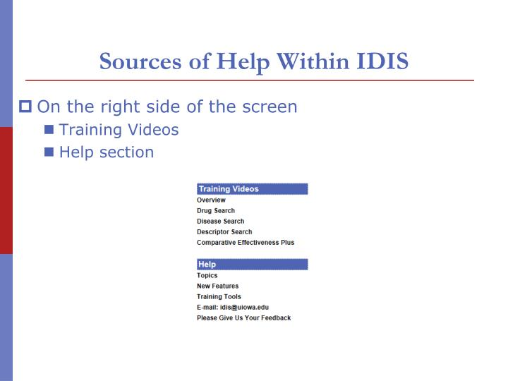 Sources of Help Within IDIS