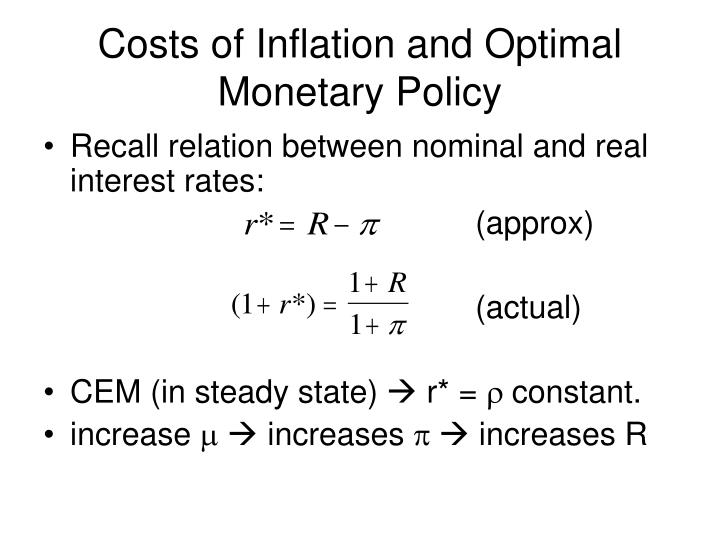Costs of Inflation and Optimal Monetary Policy