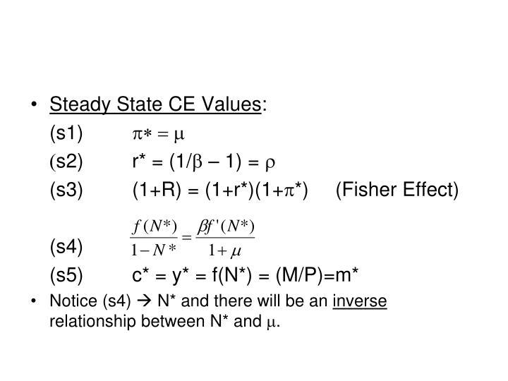Steady State CE Values