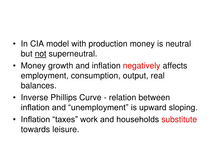 In CIA model with production money is neutral but