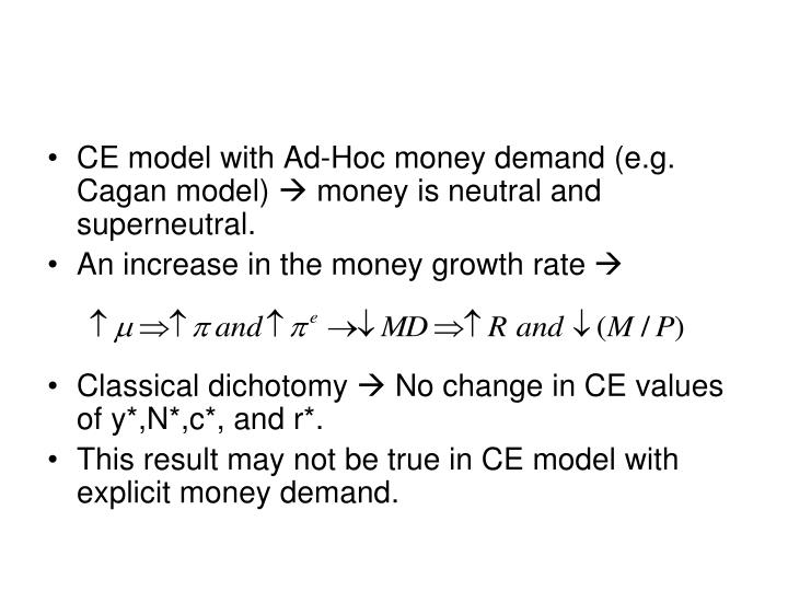 CE model with Ad-Hoc money demand (e.g. Cagan model)  money is neutral and superneutral.