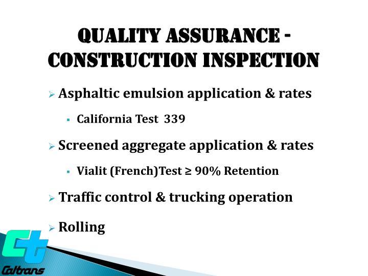 Quality ASSURANCE - construction Inspection