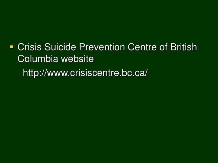 Crisis Suicide Prevention Centre of British Columbia website