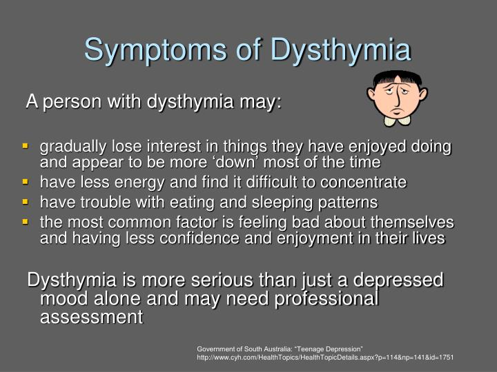 Symptoms of Dysthymia