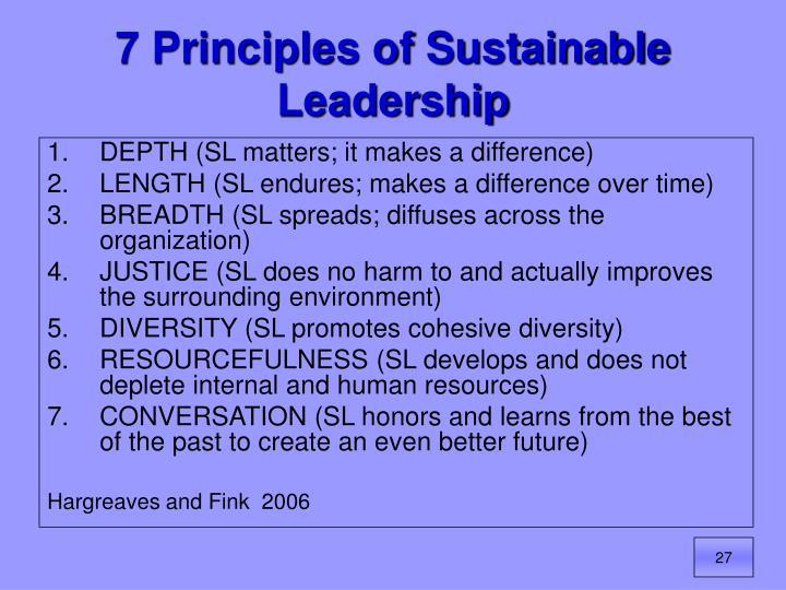 7 Principles of Sustainable Leadership