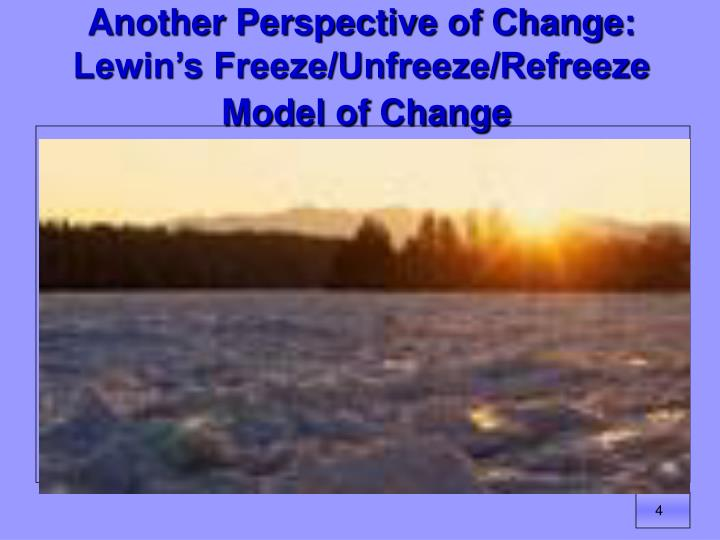 Another Perspective of Change: Lewin's Freeze/Unfreeze/Refreeze