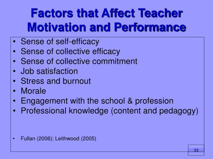 Factors that Affect Teacher Motivation and Performance