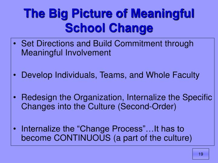 The Big Picture of Meaningful School Change