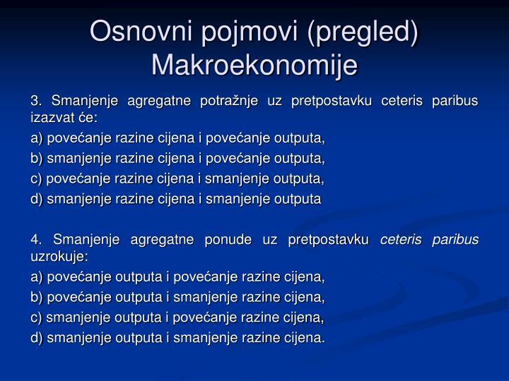 Osnovni pojmovi pregled makroekonomije
