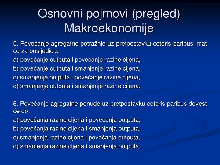 Osnovni pojmovi pregled makroekonomije1