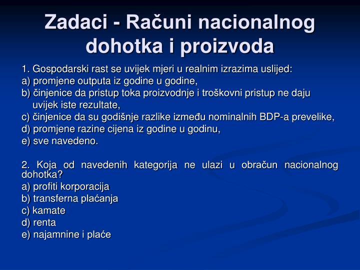 Zadaci - Računi nacionalnog dohotka i proizvoda
