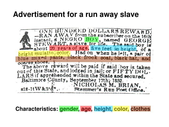 Advertisement for a run away slave