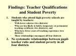 findings teacher qualifications and student poverty