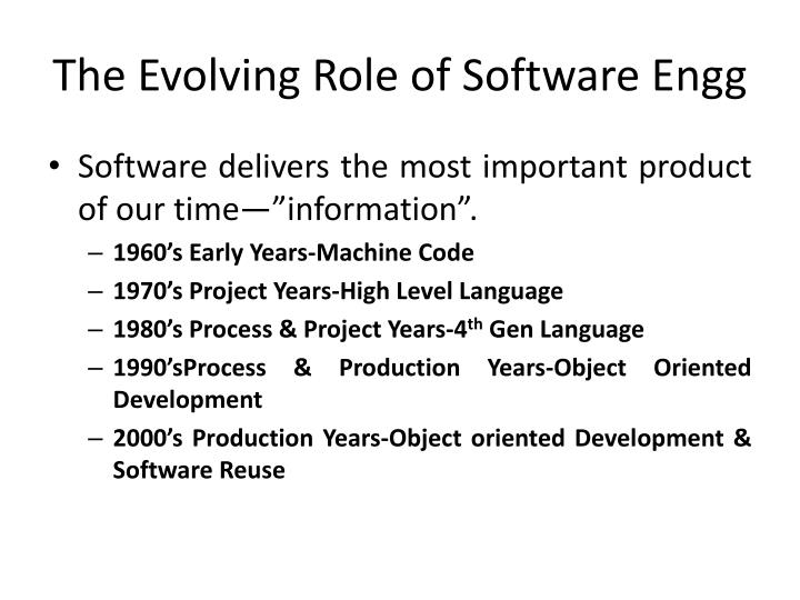 The Evolving Role of Software Engg