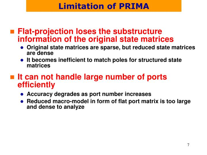 Limitation of PRIMA