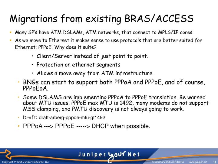Migrations from existing BRAS/ACCESS