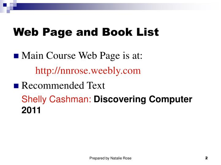 Web page and book list