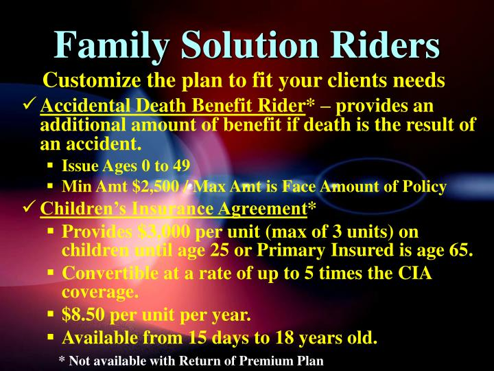Family Solution Riders