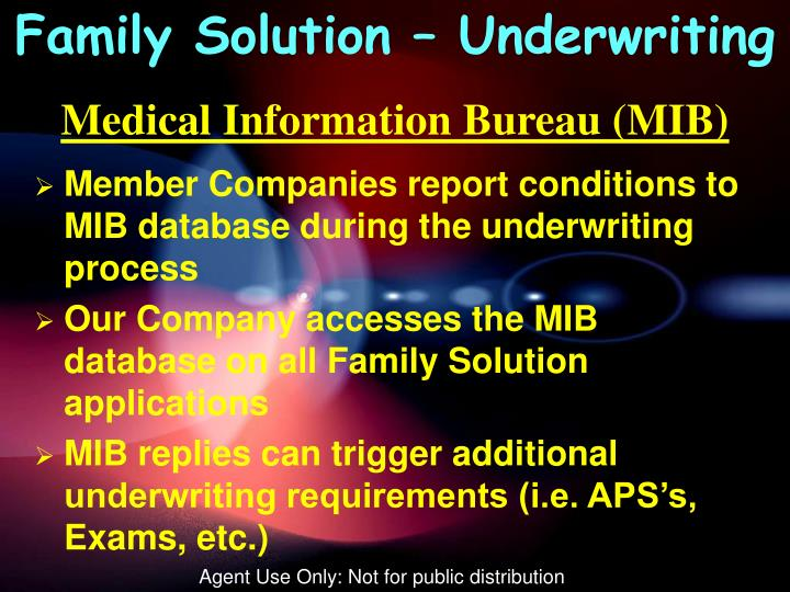 Family Solution – Underwriting
