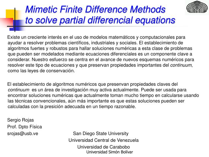 Mimetic Finite Difference Methods