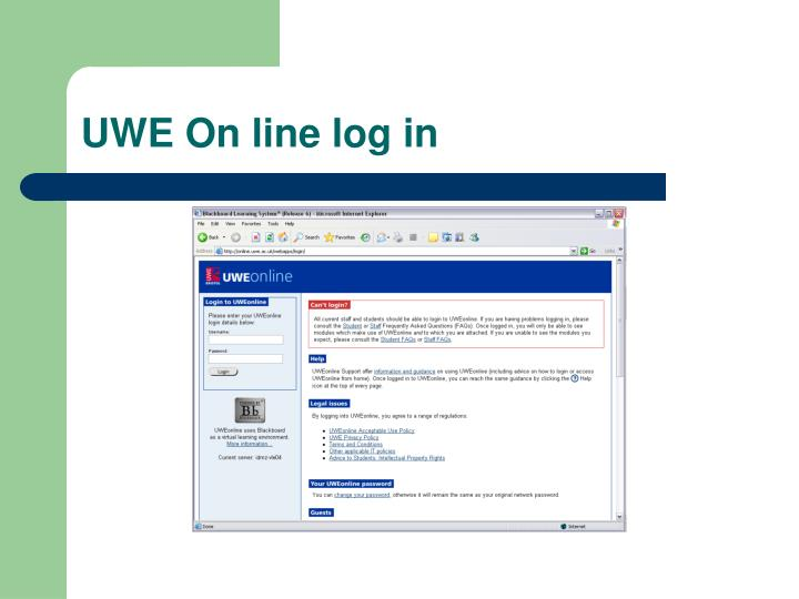 UWE On line log in