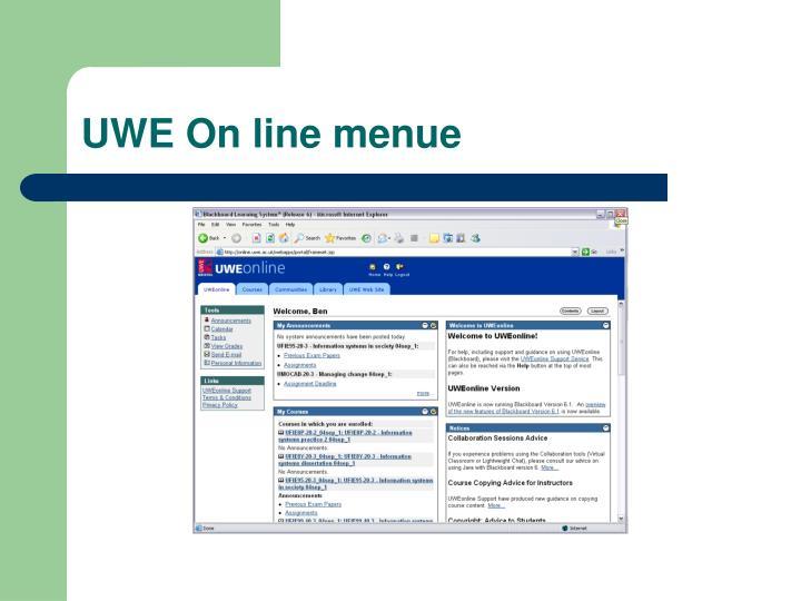 UWE On line menue