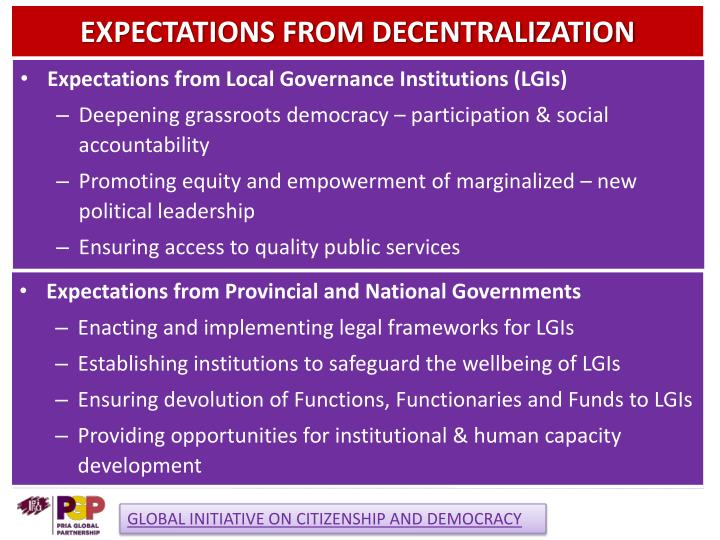 Expectations from decentralization