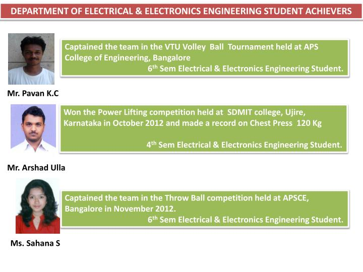 DEPARTMENT OF ELECTRICAL & ELECTRONICS ENGINEERING STUDENT ACHIEVERS