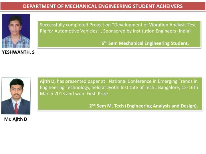 DEPARTMENT OF MECHANICAL ENGINEERING STUDENT ACHEIVERS