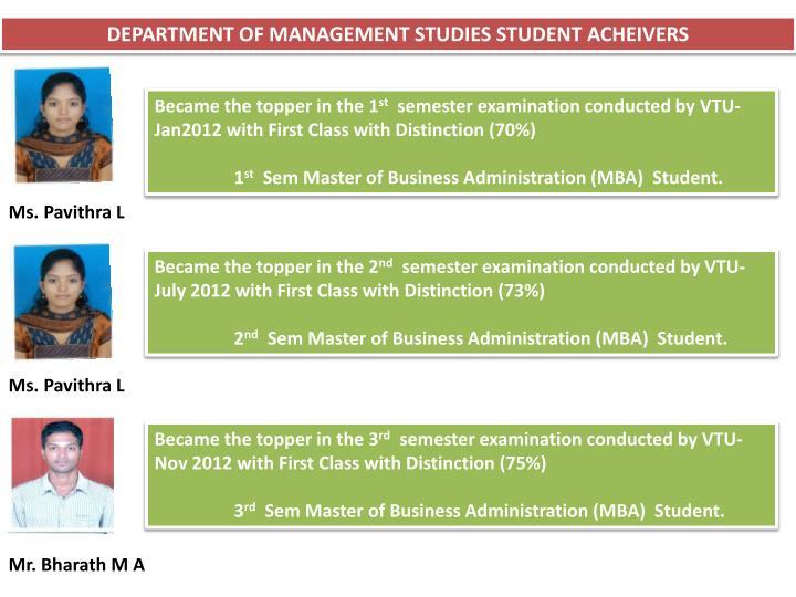 DEPARTMENT OF MANAGEMENT STUDIES STUDENT ACHEIVERS
